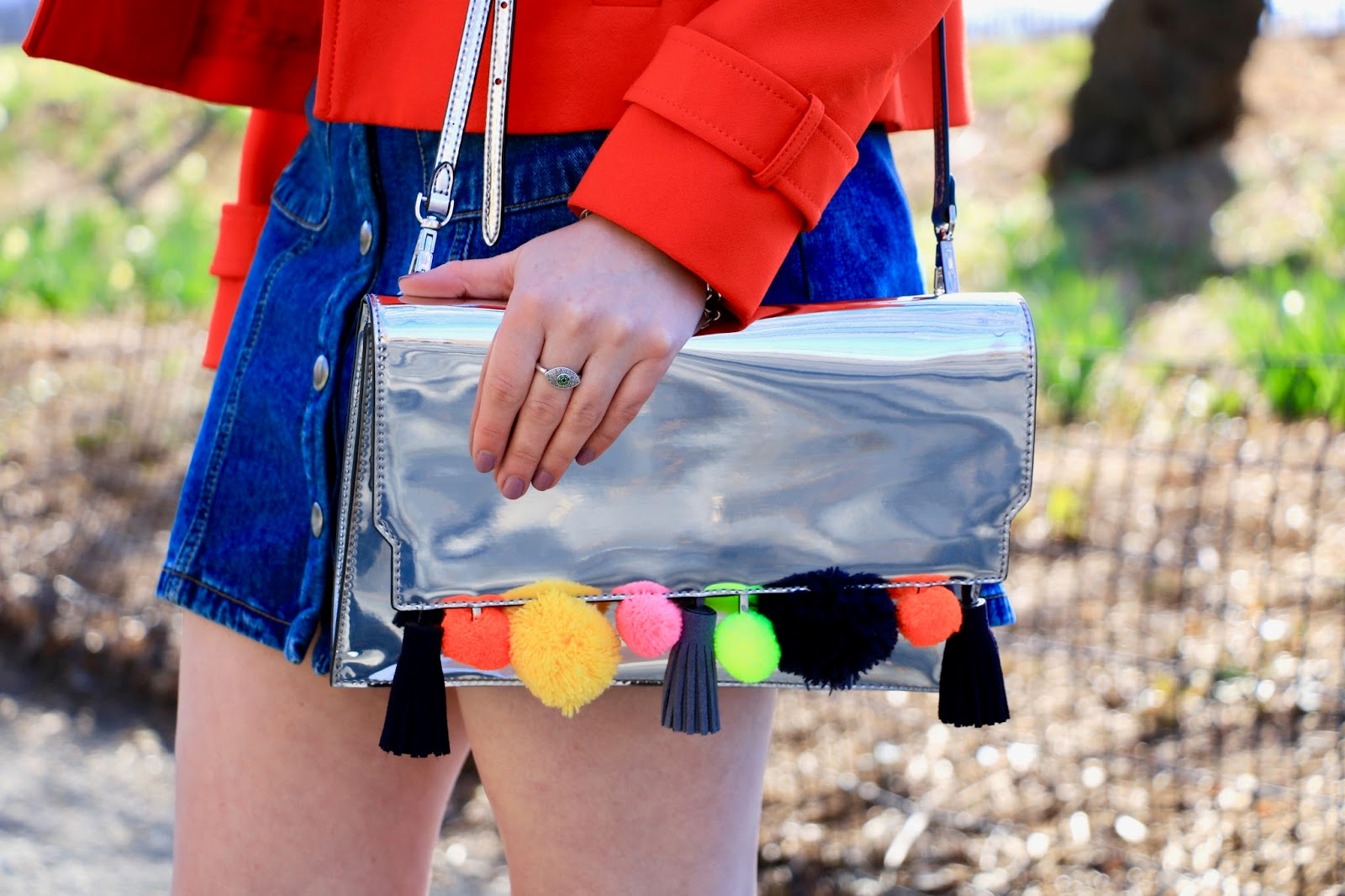 metallic rainbow pom purse
