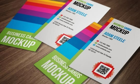 Verticle Business Cards Mockup