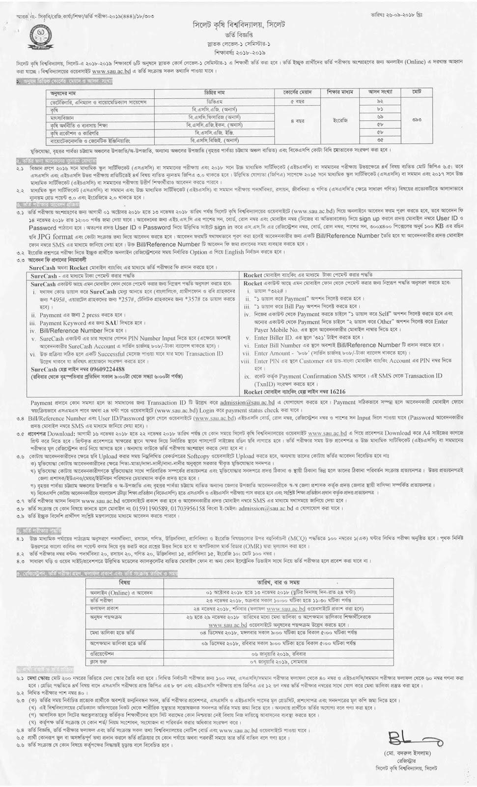 Sylhet Agricultural University (SAU) Admission Circular 2018-2019