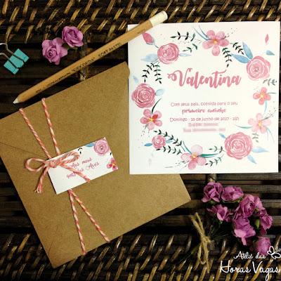 convite artesanal personalizado aniversário infantil 15 anos casamento moderno rústico floral aquarelado papel kraft boho delicado sofisticado convite diferente