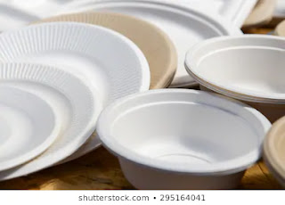 disposable cups and plates,with recycling code 6