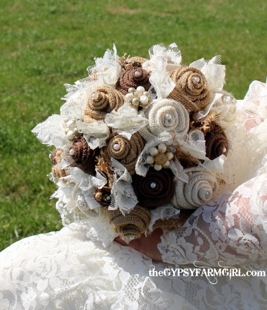 vintage burlap  and lace bridal bouquet