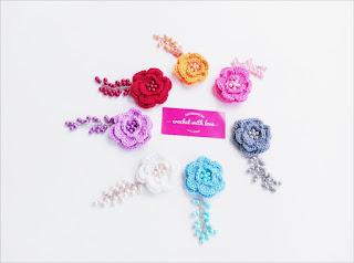 bross rajut, bros rajut, crochet brooch, crochet flower, flower brooch, crochet flowery brooch, bros rajut bunga, bross rajut unik, bros rajut dengan mutiara, bros mutiara