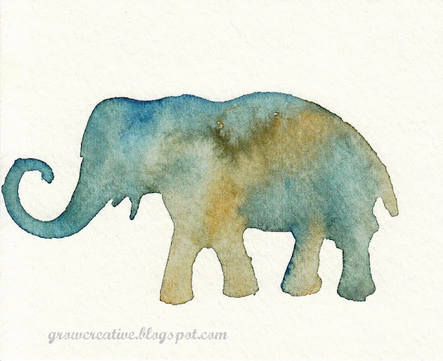 watercolor elephant stencil art : Grow Creative