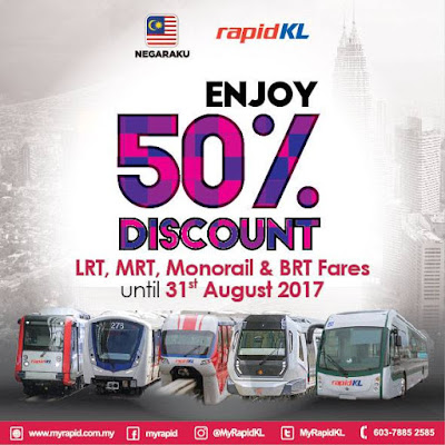 50% Discount on Rapid KL LRT MRT Monorail BRT Fares Price Promo
