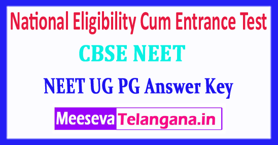 NEET UG PG National Eligibility Cum Entrance Test NEET Answer Key 2018 Download
