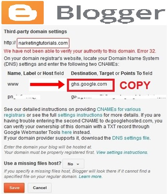 Change Blogger To Custom Domain