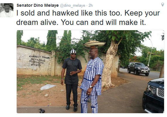 Senator Dino Melaye shares a photo of him hawking groundnut called it