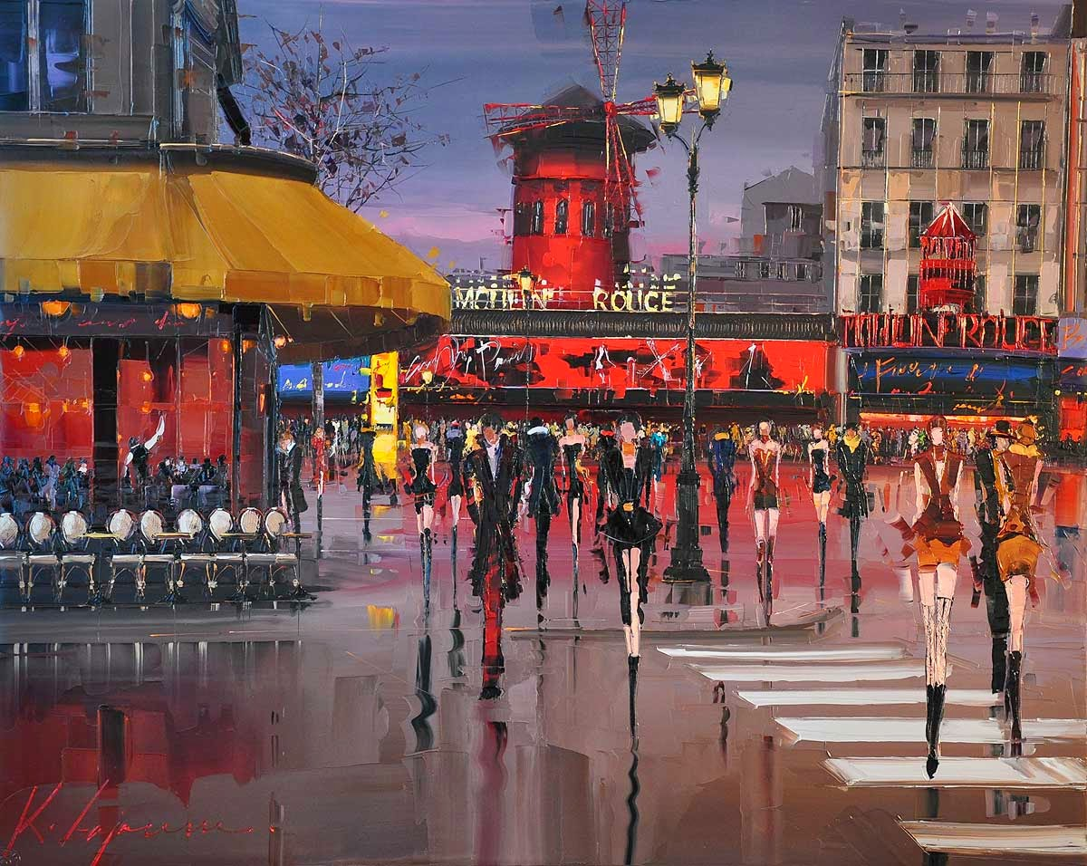 31-Moulin-Rouge-Kal-Gajoum-Paintings-of-Dream-Like Cities-of-the-World-www-designstack-co