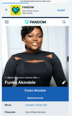 Nollywood Actress Funke Akindele Will Feature In Marvel's Avengers Infinty War