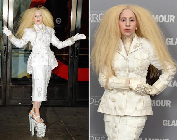 The pop star dressed in a white jacket with long blonde wig Lady gaga