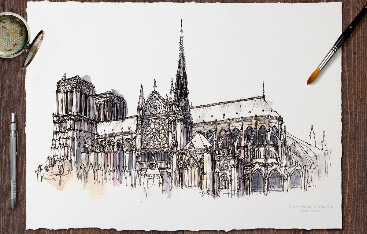 08-Notre-Dame-Cathedral-Paris-France-Mucahit-Gayiran-Architectural-Landmarks-Mixed-Media-Art-Part-2-www-designstack-co