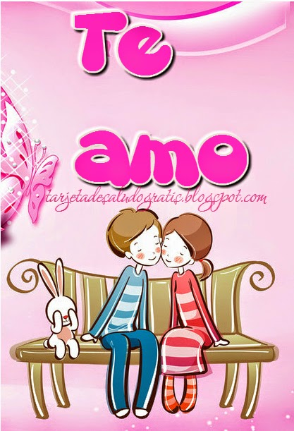 Postal linda de Te Amo con pareja con tono rosa