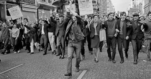 Students and Workers Marching in the Streets of Paris