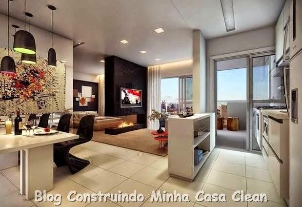 Construindo minha casa clean 25 cozinhas integradas com for Salas de estar modernas y pequenas