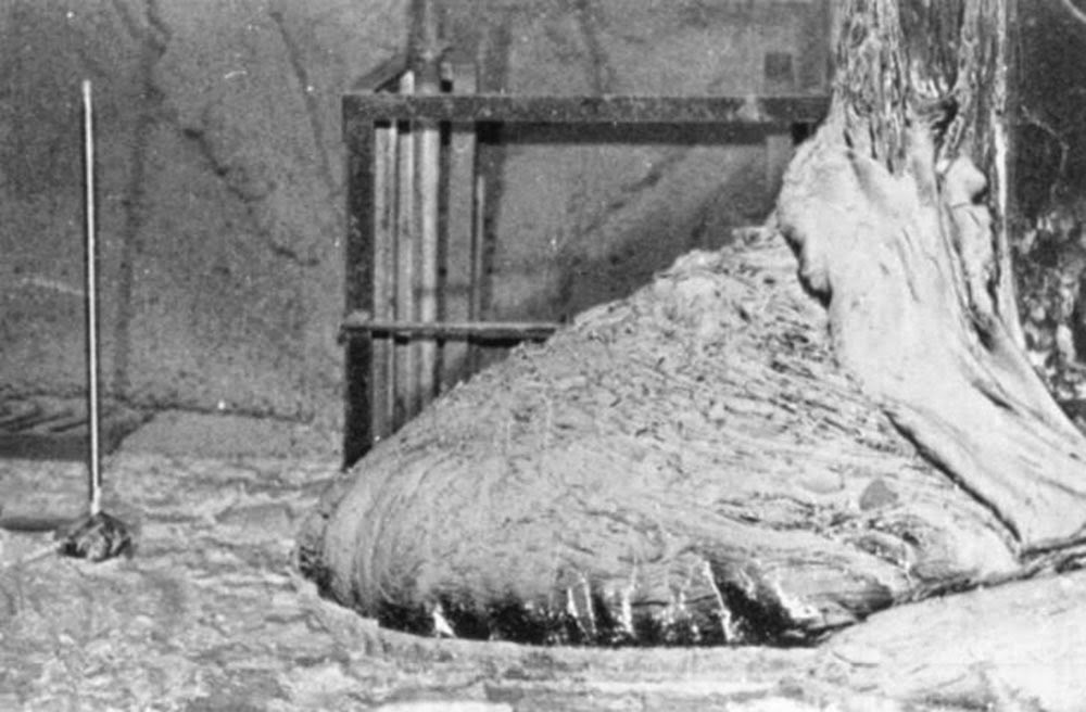 When this photo was taken, 10 years after the disaster, the Elephant's Foot was only emitting one-tenth of the radiation it once had. Still, merely 500 seconds of exposure would prove fatal.