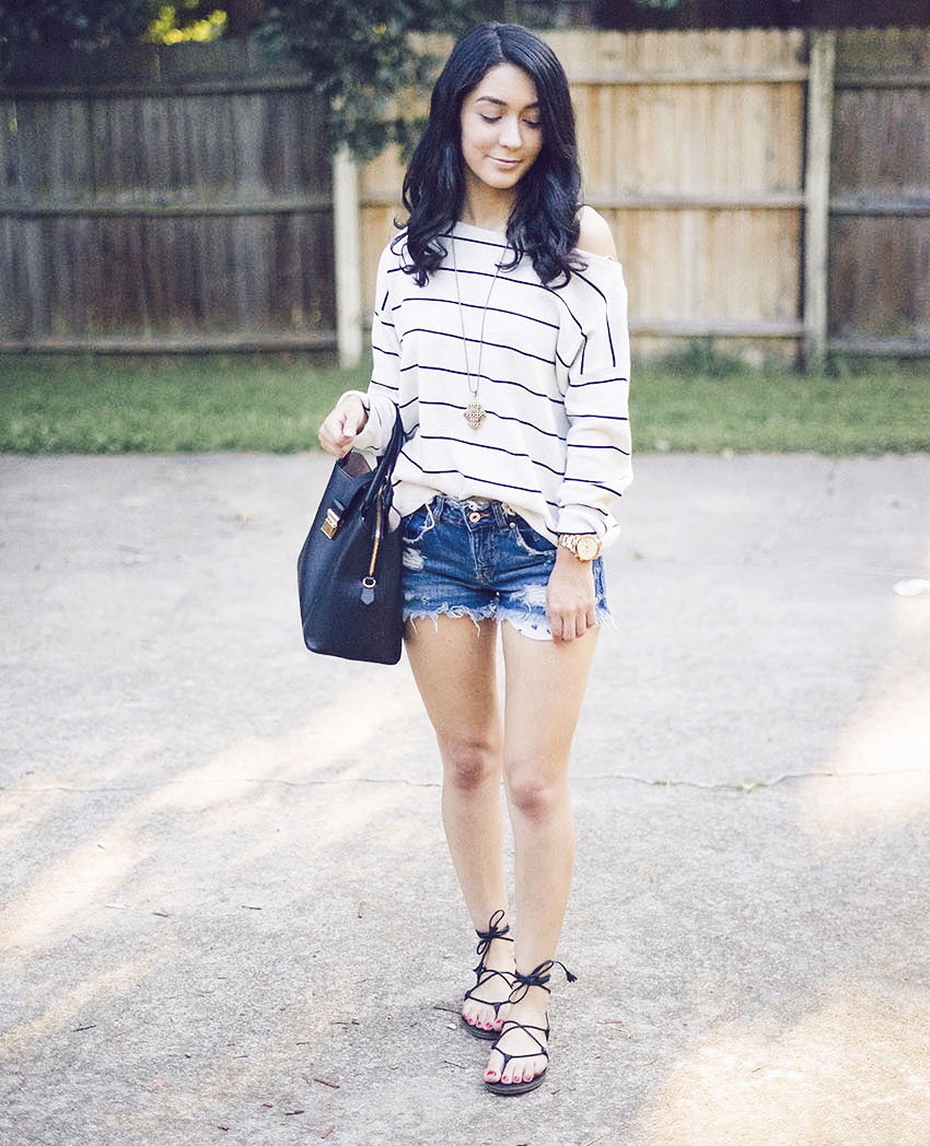 stripe knit and shorts ootd