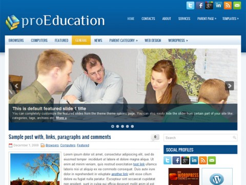 Free proEducation University and Faculty Sites WordPress Theme