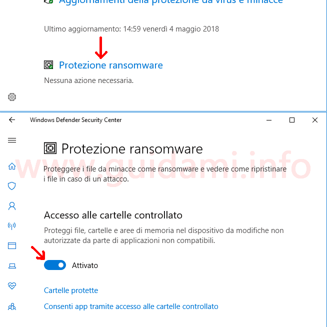 Windows Defender Security Center attivare Protezione ransomware