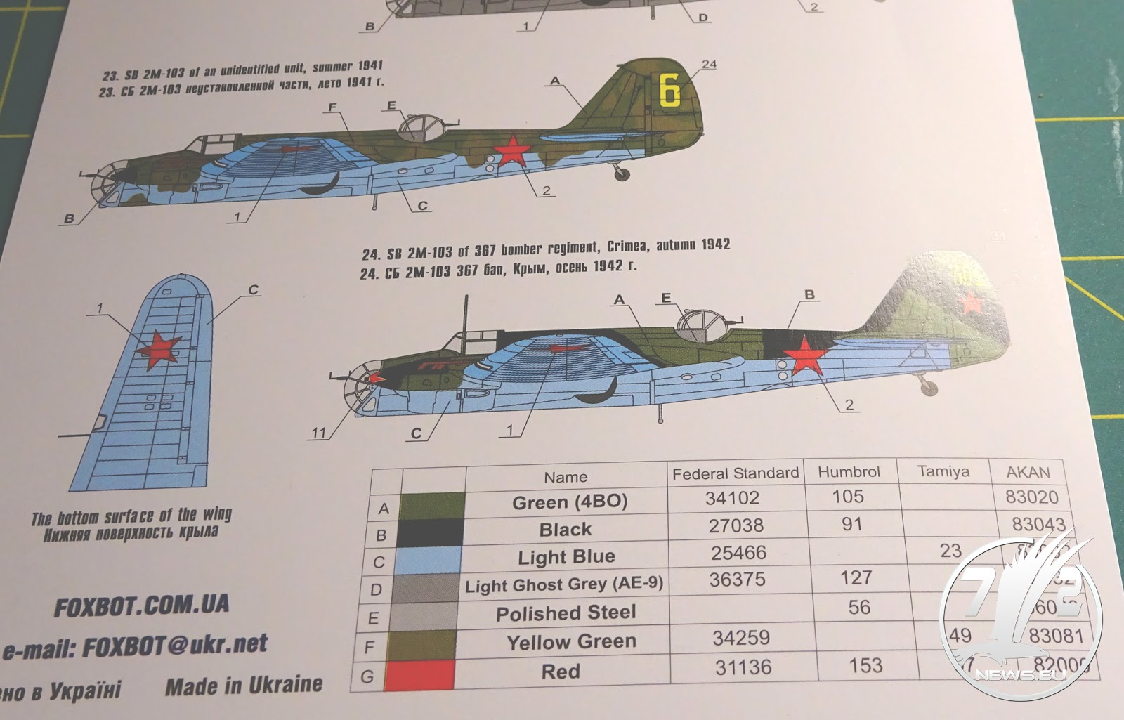 Foxbot 72-002 Decal for Tupolev SB: Stalin/'s speed bomber 1:72 *** NEW ***