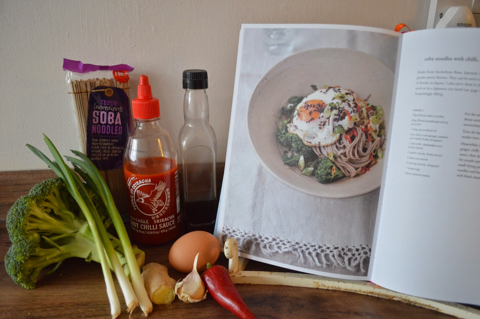 Diana Henry, A Change of Appetite, Soba Noodles, Cooking ingredients, Cookbook Review Broccoli noodles, Sriracha sauce, gingey bites