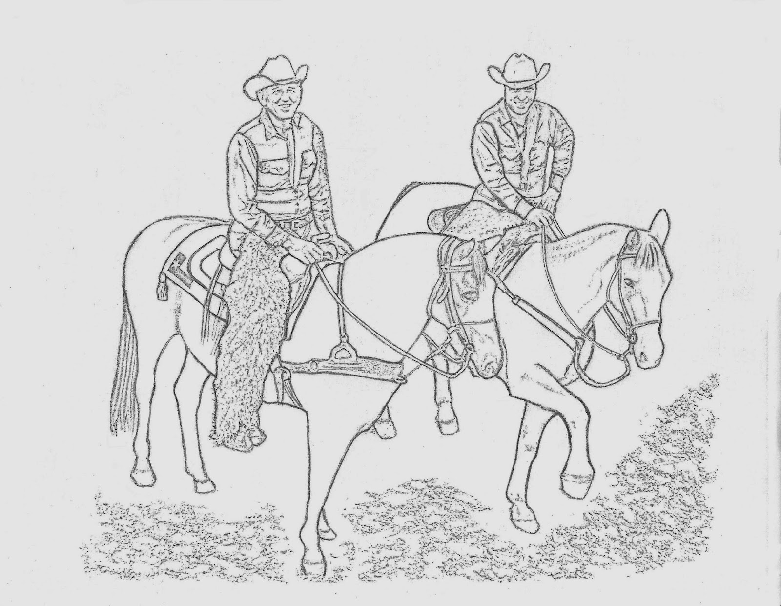 Western Coloring Pages Cowboys On Horses Coloring Page By