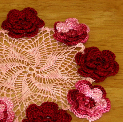 3D Roses Doily - Red Roses on Pink Whirl - Handmade By RSS Designs In Fiber