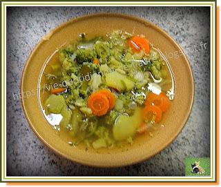 Vie quotidienne de FLaure : Soupe, brocoli - carotte - poireau, non mixée