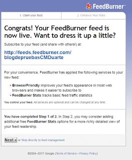 Personalizando la nueva dirección del feed en Feedburner 2