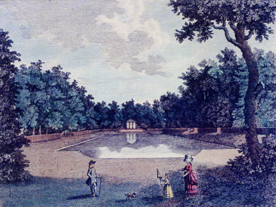 Print of An early-eighteenth-century print showing the canal at Gubbins. Later prints show the alcoves to have been furnished with statuary.