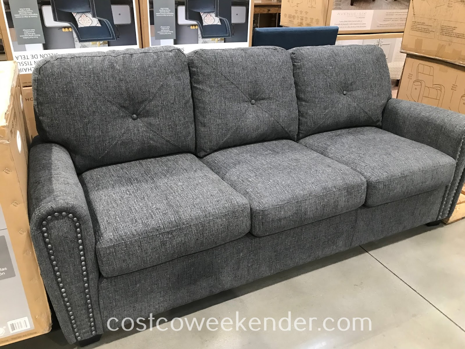 Sit comfortably or even spend the sleeping night on the Bainbridge Fabric Sleeper Sofa