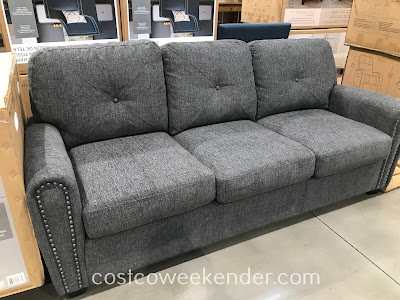 Sit comfortably or even spend the sleeping night on the Bainbridge Fabric Sleeper Sofa