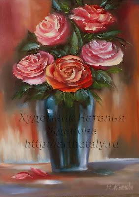 Натюрморт маслом Розы