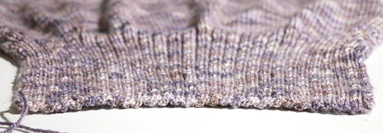 Close Up View of Ribbing Knit in Purple Sport Weight Yarn