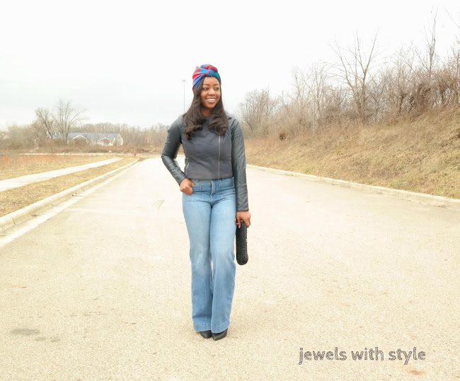 wardrobe challenge, jewels with style, how to wear a turban, scarf turned into turban, how to wear your scarf, wide legs jeans, black fashion blogger, columbus ohio stylist, columbus ohio blogger, black style blogger, flannel hat, how to wear wide leg jeans