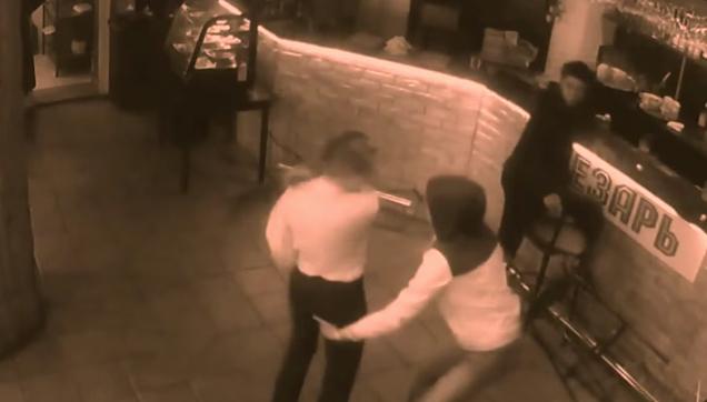 Bar Girl Slaps a man