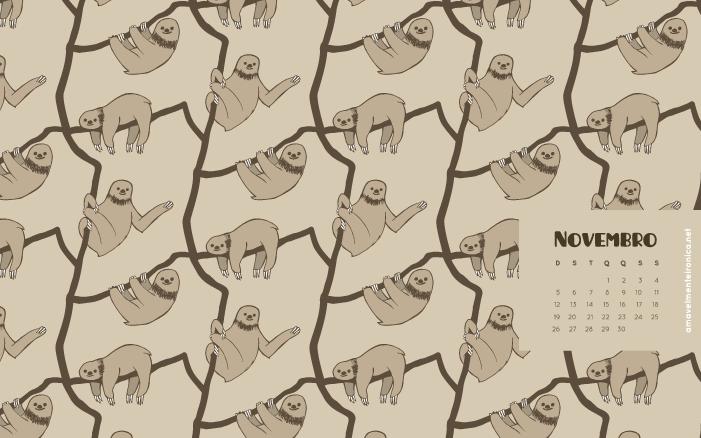 Papel de Parede de Novembro (Preguiça-de-coleira) - Amavelmente Irônica