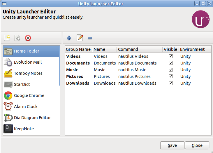 Xmemory: Unity Launcher and QuickList Editor
