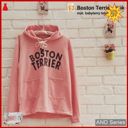 AND198 Sweater Wanita Boston Terrier Pink BMGShop