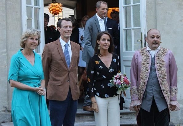 Princess Marie wore a new floral print georgette wrap top by GANNI. Royals attended the premiere of Molière's comedy Misantropen