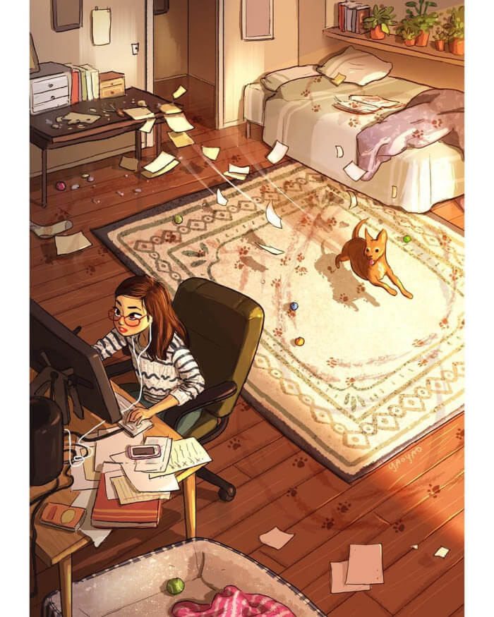 The Freedom of Living Alone in 16 Fascinating Drawings - You let your pet have fun and throw yourself into work.
