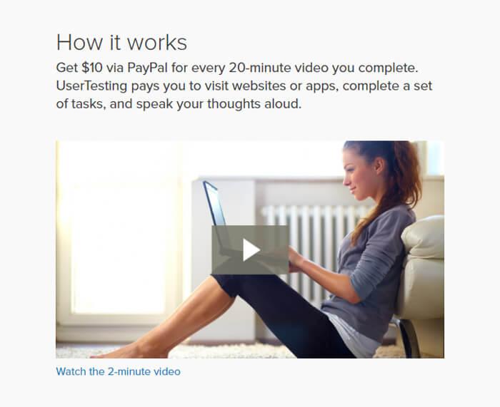 Chú thích kiếm tiền trên trang UserTesting
