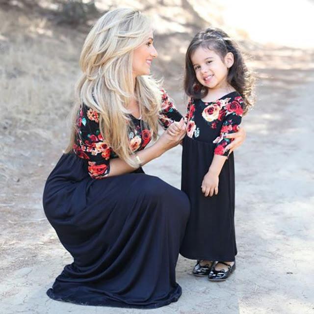 Mom Girl Flower Prints Color Block Ankle-Length Matching Dress