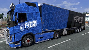 Blue Volvo FH16 skin and trailer