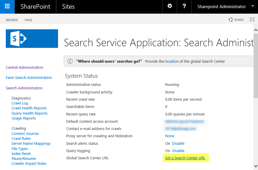 sharepoint 2013 change global search center url