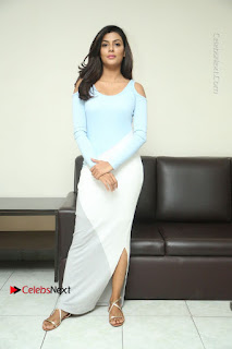 Anisha Ambrose Latest Pictures in White Long Leg Split Skirt at Fashion Designer Son of Ladies Tailor Movie Interview