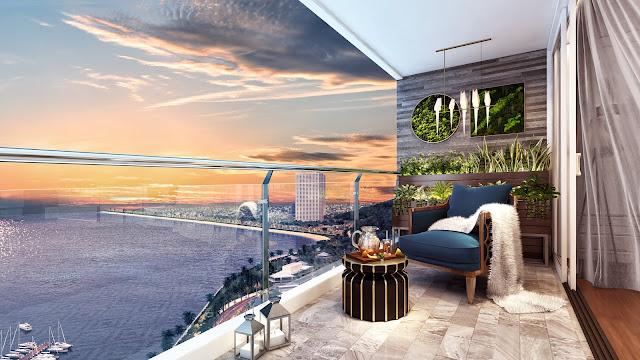 Phối cảnh ban công view biển dự án căn hộ laluna nha trang
