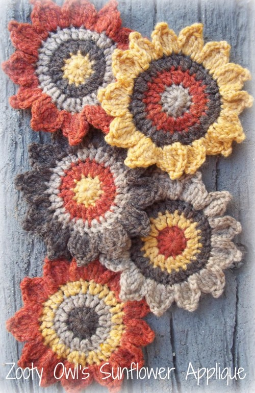 Sunflower Applique - Crochet Pattern