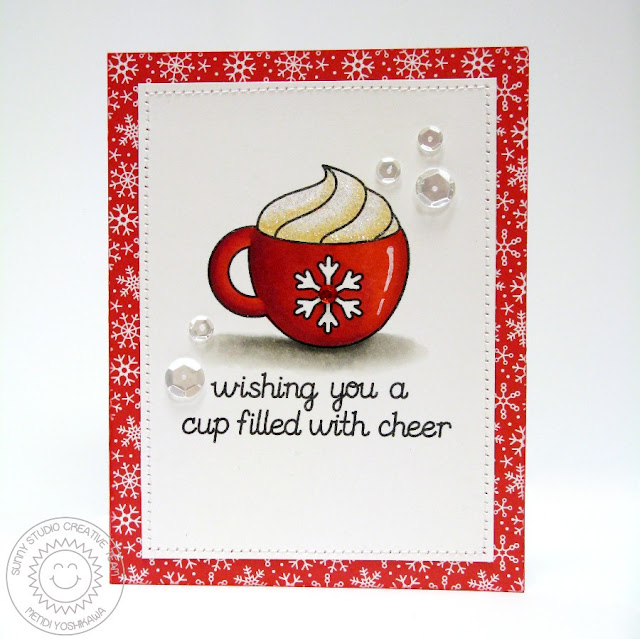 2015 Winter Coffee Lovers Blog Hop: Sunny Studio Hot Cocoa Mocha card using Hot Drinks~Warm Hearts Digital Stamp