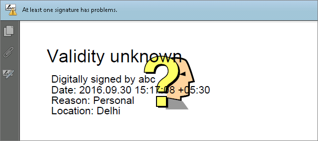 How to set Green Tick and Question marks in Signed PDF using